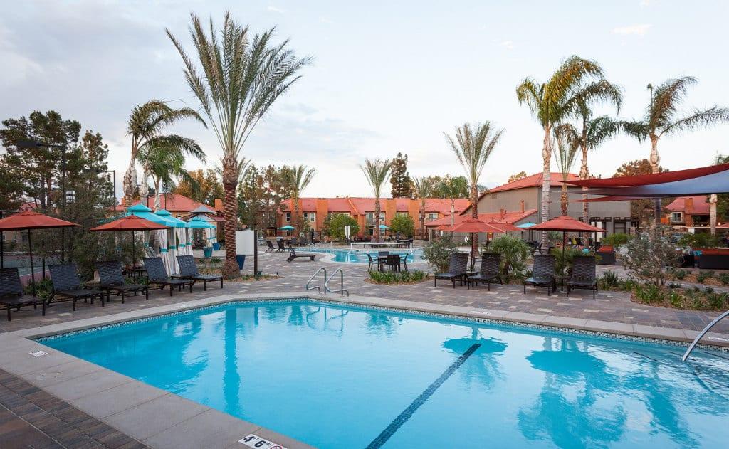 Three sparkling resort pools